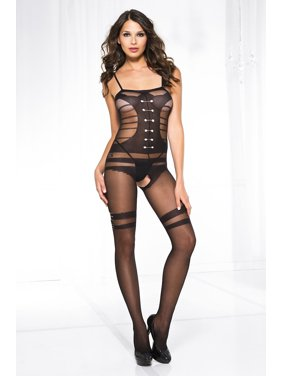 06c119b3cbb Product Image Sheer bodystocking with faux design buttoned up teddy and  belt print stockings 1611-BLACK. Product TitleMusic LegsSheer ...