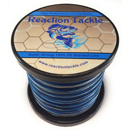 Reaction Tackle High Performance Blue Camouflage Braided Fishing Line   10Lb   150Yds