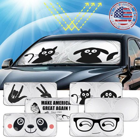 IClover Auto Car Jumbo Sunshade Foldable Windshield Sun Shade Visor Clean Design (59