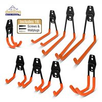 heavy duty wall hooks, 8-pack steel garage hooks for garage storage - wall mount hanging hooks tool organizer holds 40 lbs each - rust resistant double hooks for garden and garage tools organization