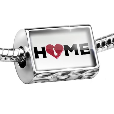 Delaware State Charm - Bead Home with State Heart Shape Delaware Charm Fits All European Bracelets