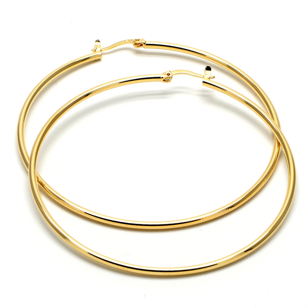 Gold-Tone Ladies Circle Polished Finish and Extra Large Hoop Earrings (70mm x 2mm)