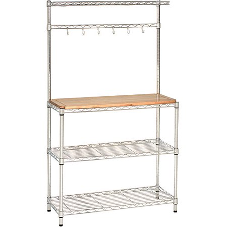 Seville Classics Bakers Rack Workstation with Rubberwood Top