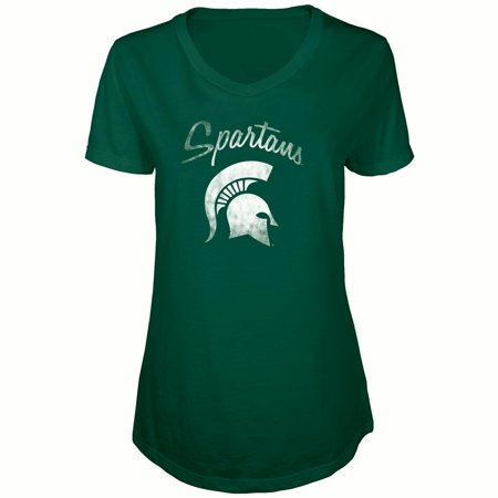Women's Russell Green Michigan State Spartans Distressed V-Neck Tunic (Green Stake)