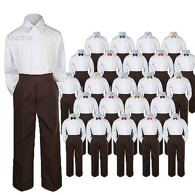 23 Color 3pc Set Bow Tie Boy Baby Toddler Kid Formal Suit Shirt Brown Pants