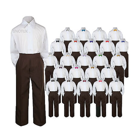 23 Color 3pc Set Bow Tie Boy Baby Toddler Kid Formal Suit Shirt Brown Pants S-7