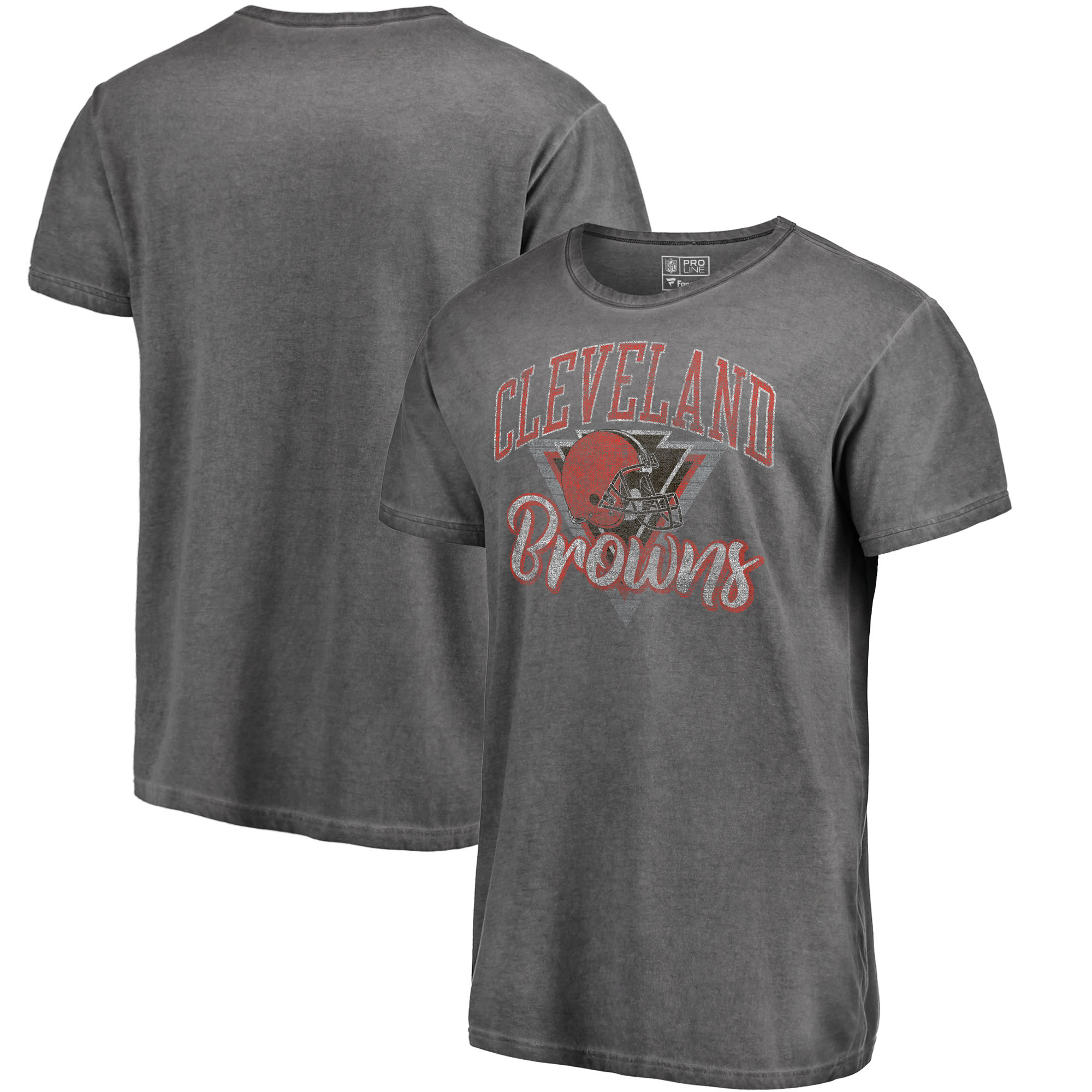 Cleveland Browns NFL Pro Line by Fanatics Branded Shadow Washed Retro Arch T-Shirt - Black