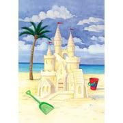 Sand Castle Beach Scene Ocean Palm Tree Garden Flag GF
