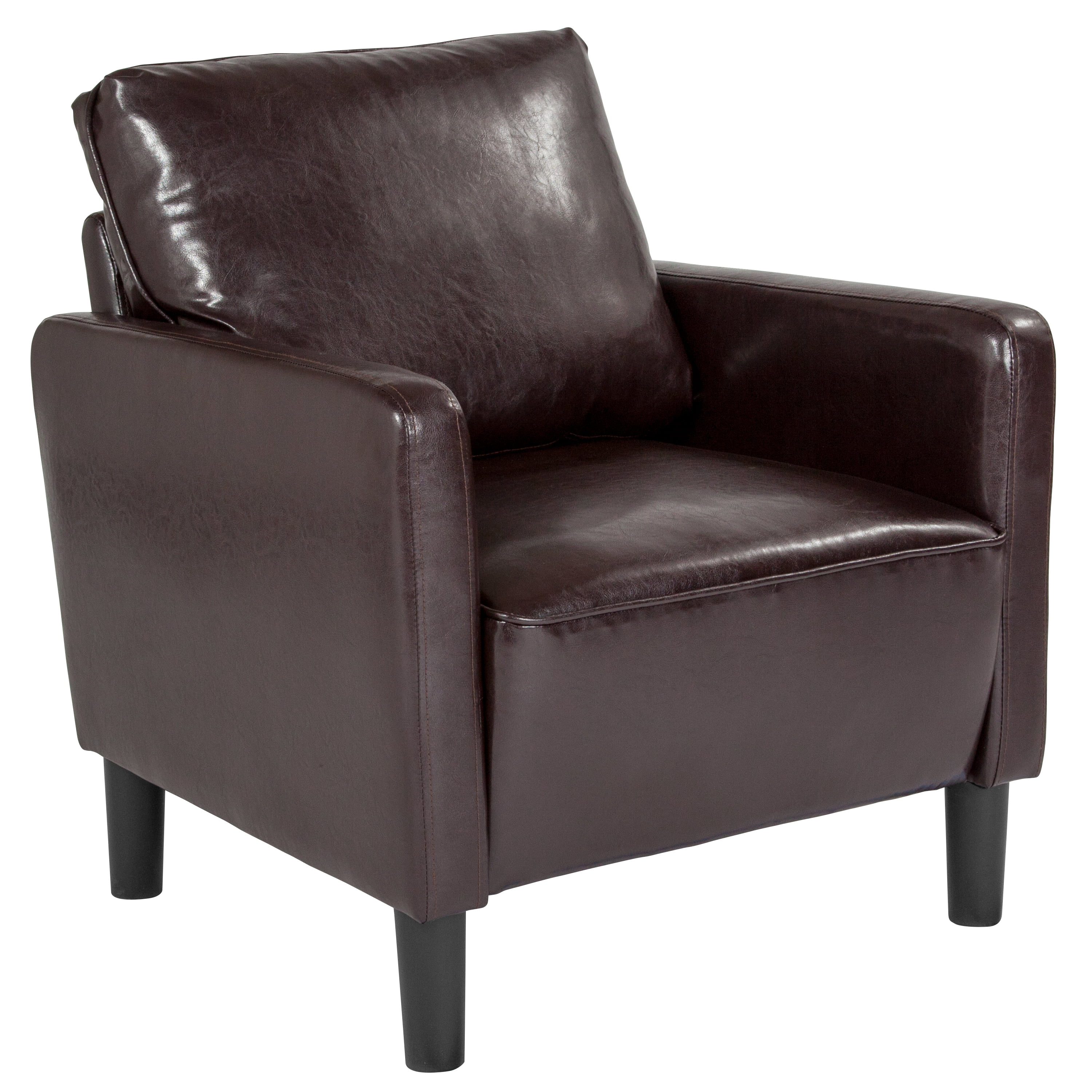 Washington park flash furniture upholstered living room chair with straight arms in brown for Upholstered living room chairs with arms