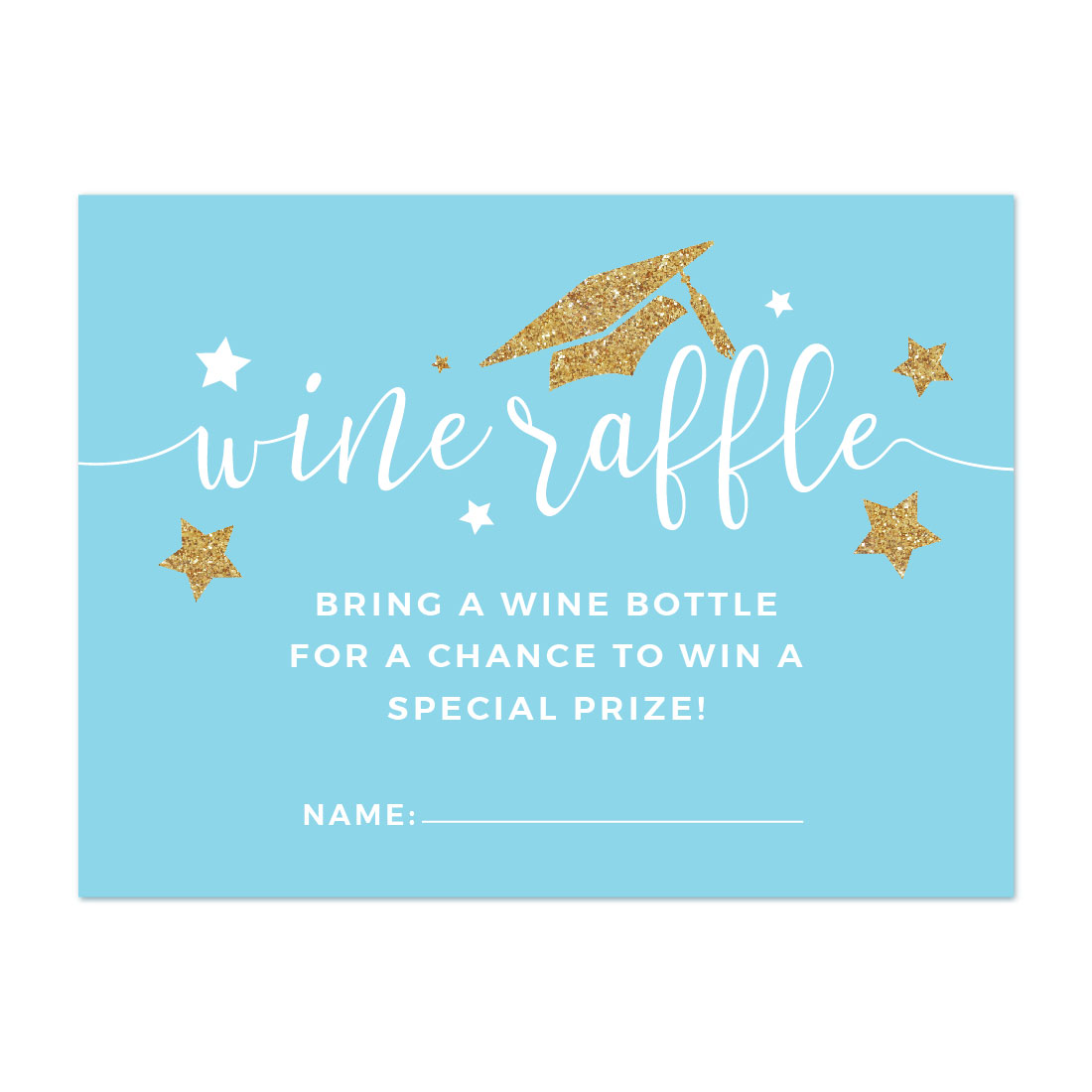 Baby Blue and Gold Glittering Graduation Party, Wine Bottle Raffle Cards, 30-Pack, Games