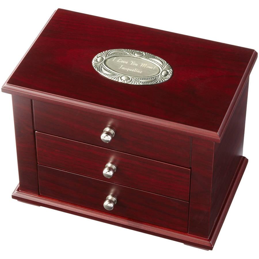 Personalized Charming Wood Jewelry Box, Single Initial