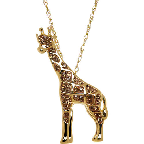 Animal Planet™ Giraffe Pendant made with Swarovski Elements in Gold-Plated Sterling Silver, 18""