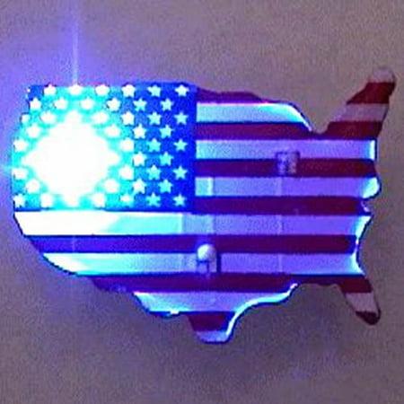 USA Shape Flag Flashing Body Light Lapel Pins