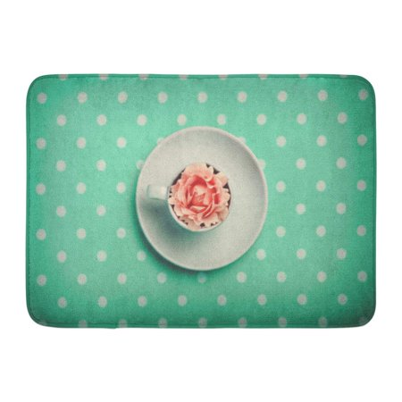 Rosebud Dots (GODPOK Bright Colorful Afternoon Cup of Tea Coffee with Rosebud in It on Dots Above View Pink Beautiful Closeup Rug Doormat Bath Mat 23.6x15.7 inch )
