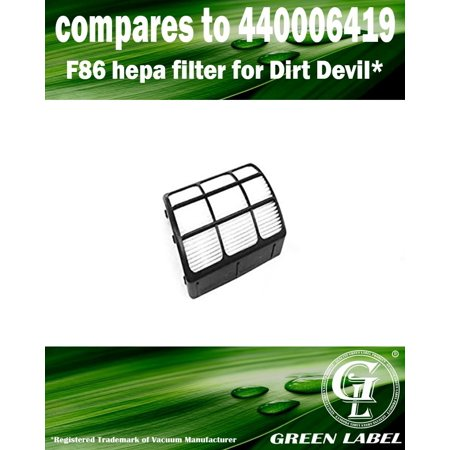 For Dirt Devil F86 HEPA Filter for Vacuum Cleaners (compares to 440006419). Genuine Green Label product.