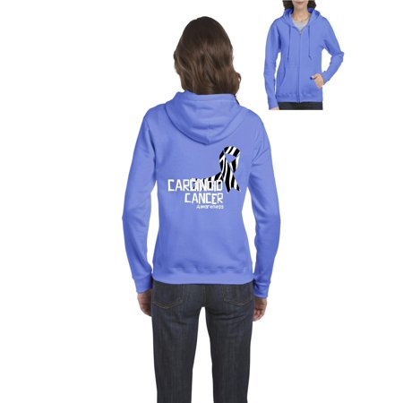 Carcinoid Cancer Awareness Women Full-Zip Hooded Sweatshirt Colon Cancer Hooded Sweatshirt
