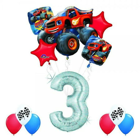Blaze and the monster machines 3rd birthday balloon for Balloon decoration machine