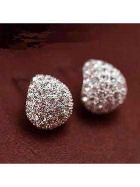 dc3a0e576 Product Image CLEARANCE - Clam Shell Crystal Encrusted Textured Scoop Stud  Earrings White Gold. Feshionn IOBI. Product TitleCLEARANCE ...