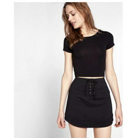 Express Women's Lace Up Skirt , Black, 4](Express Women)