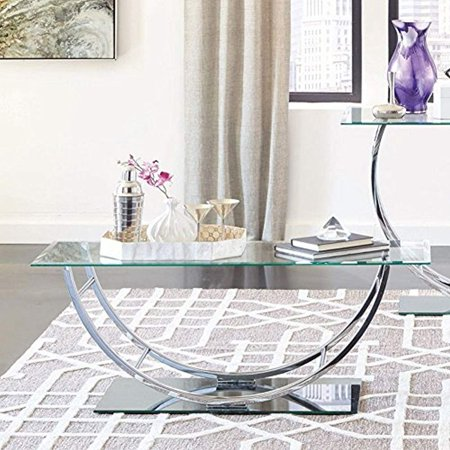 Coaster 704988-CO Glass Top Coffee Table, Chrome