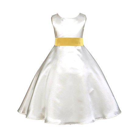 Ekidsbridal Ivory Satin A-Line Flower Girl Dresses Pageant Wedding Formal Special Occasion Dresses Recital Ball Gown Holiday Easter Seasonal Birthday Dresses Junior Toddler 821S - Ivory Satin Flower Girl Dress