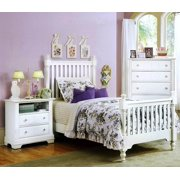 Youth Slat Poster Bed w Nightstand & Chest in Snow White Finish (Twin)