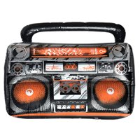 Suit Yourself Inflatable Boom Box for Adults, Oversized Prop Looks Just Like an 80s Orange and Black Cassette Player