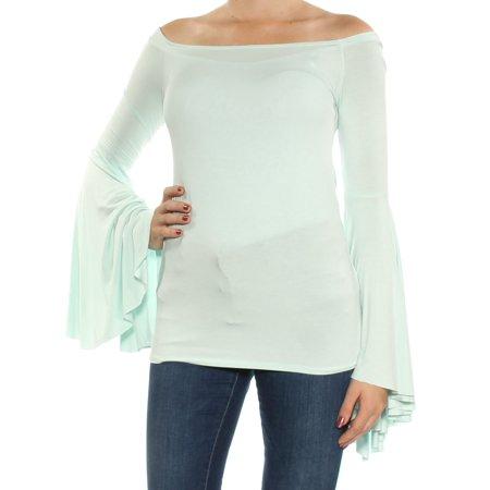 a331ad37e54ad FREE PEOPLE - FREE PEOPLE Womens Aqua Cold Shoulder Bell Sleeve Off Shoulder  Top Size  M - Walmart.com
