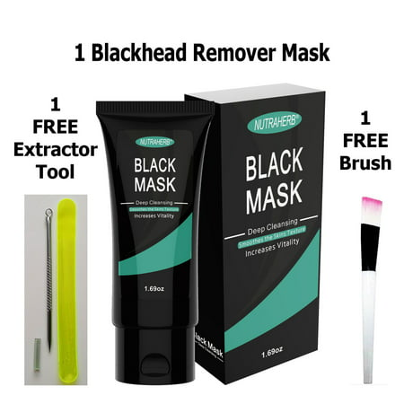 Charcoal Mask Blackhead Remover Mask Plus Remover Tool and Soft Facial Mask Brush, Purifying Activated Charcoal Peel Off Black Mask, Say Goodbye to Blackheads, Whitehead, Acne, Very Easy to Use (Sound Activated Mask)