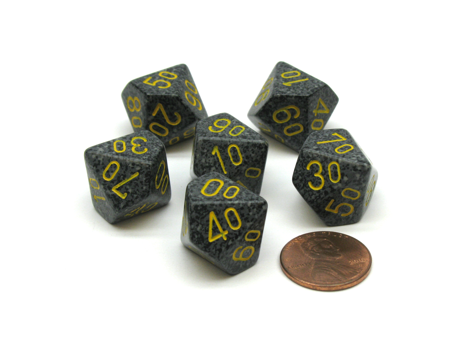 FULL BOX OF 12! URBAN CAMO with YELLOW PIPS CHESSEX 16mm SPECKLED DICE