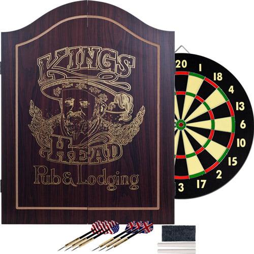TG King's Head Value Dartboard Cabinet Set, Dark Wood