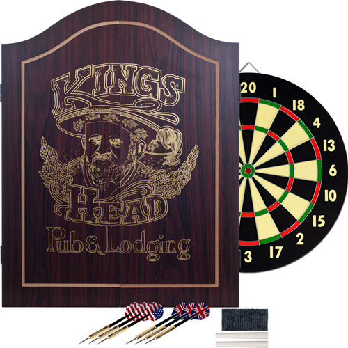 TG King's Head Value Dartboard Cabinet Set, Dark Wood