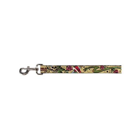 Skull Cross Bones Heart Knife Snake Collage on Khaki Fun Animal Pet Dog (Knife Leash)