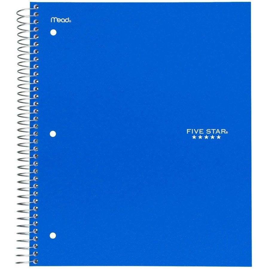 "Five Star Wirebound Notebook, 5 Subject, Wide Ruled, 10 1/2"" x 8"", Blue"