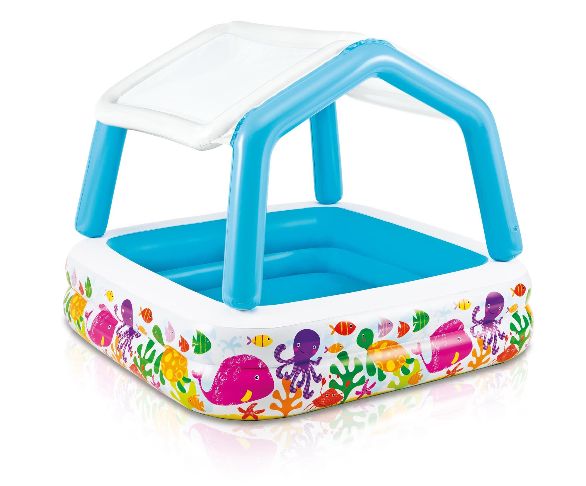 Intex Inflatable Ocean Scene Sun Shade Kids Swimming Pool With Canopy |  57470EP   Walmart.com