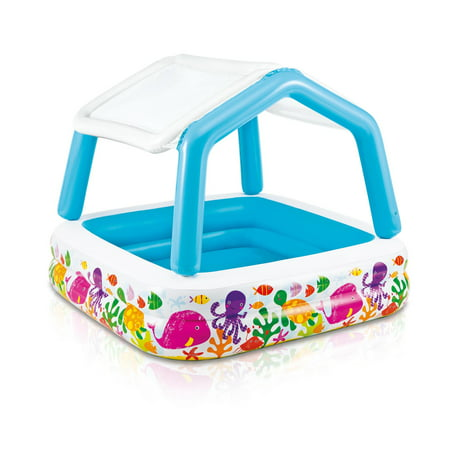 Intex Inflatable Ocean Scene Sun Shade Kids Swimming Pool With Canopy | - Small Blow Up Pool