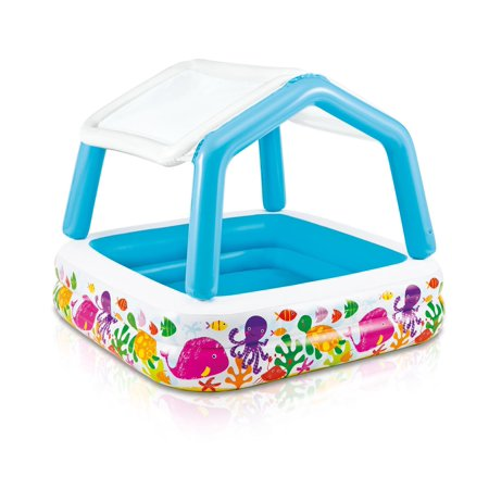 - Intex Inflatable Ocean Scene Sun Shade Kids Swimming Pool With Canopy | 57470EP