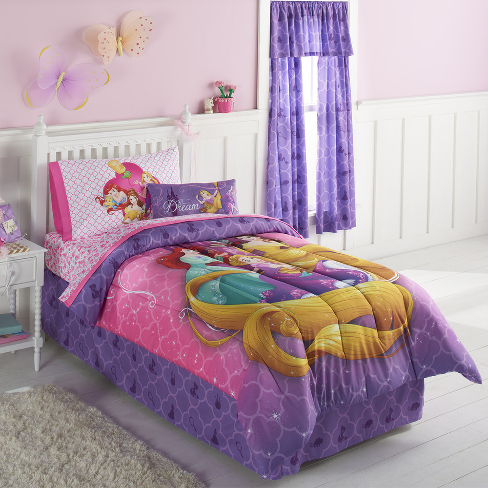 Disney Princess Belle, Ariel & Rapunzel Full Comforter & Sheets (5 Piece Bed In A Bag)