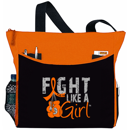 Fight Like a Girl Leukemia Multiple Sclerosis MS Tote Bag - Dakota, Orange Ribbon - Orange Tote Bag