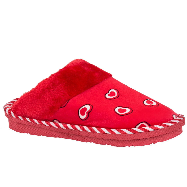 New Men Women Cosmo Heart Soft Fleece Bedroom House Slippers Indoor Shoes Size 6