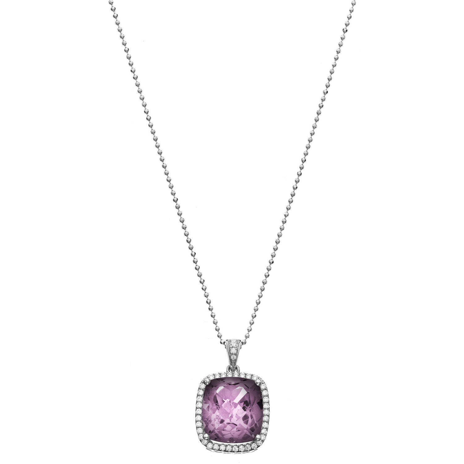 5th & Main Platinum-Plated Sterling Silver Large Cushion-Cut Amethyst Pave Cubic Zirconia Pendant Necklace by Generic