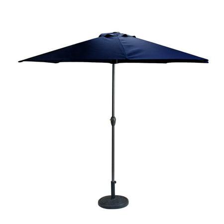 Outdoor Patio Market Umbrella 8 Ft With Hand Crank And Tilt Navy