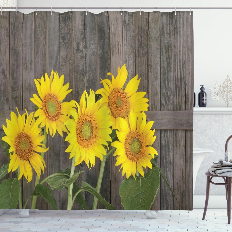 US STOCK Farmhouse Sunflowers on Rustic Wood Shower Curtain Set Bathroom Decor