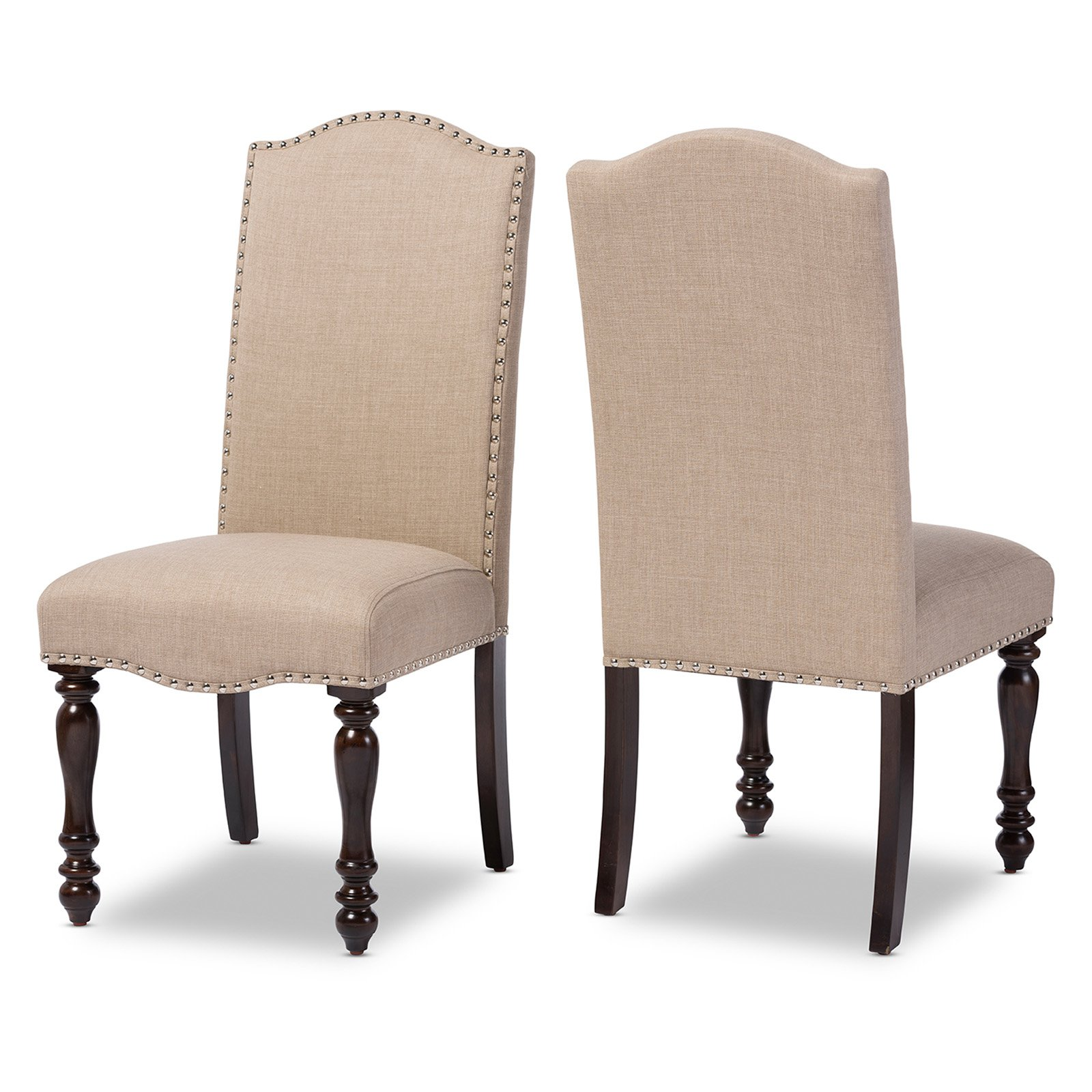 Baxton Studio Zachary Chic French Vintage Oak Brown Beige Linen Fabric Upholstered Dining Chair, Set of 2