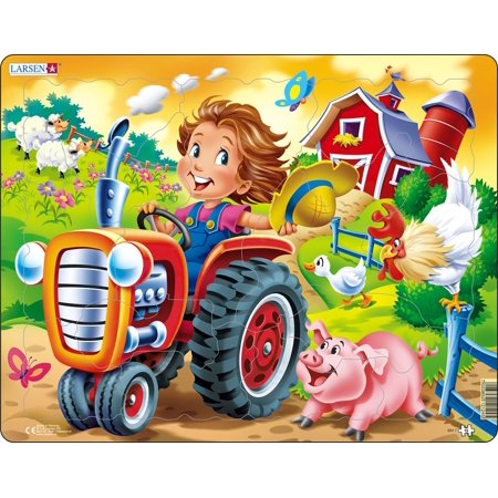 Larsen Farm Kid with Tractor 15 Piece Children's Jigsaw Puzzle (Farm Tractor Games)