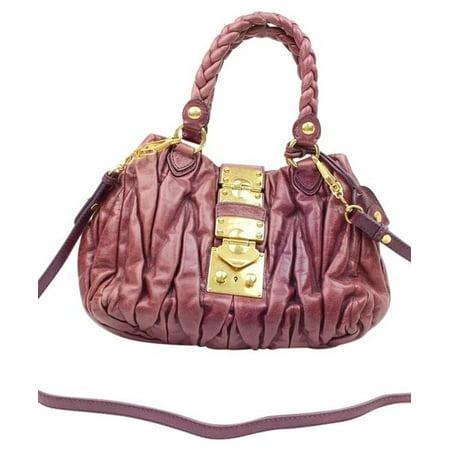 Miu Miu Patent Leather - Purple Fuchsia Leather Quilted Matelasse 2way 2182439 Shoulder Bag