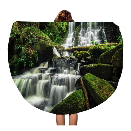 SIDONKU 60 inch Round Beach Towel Blanket Beautiful Waterfall in Green Forest Jungle at PHU Tub Travel Circle Circular Towels Mat Tapestry Beach Throw