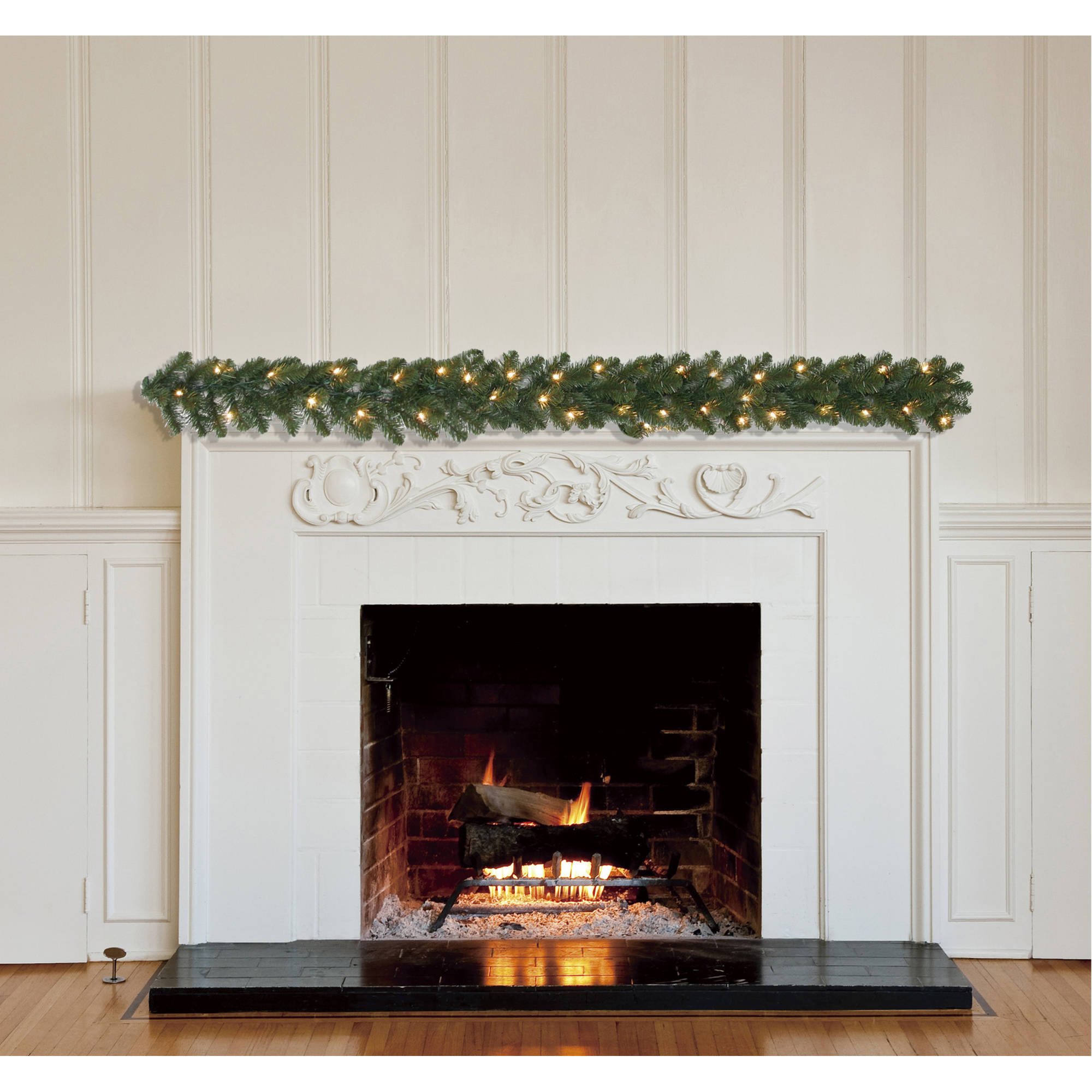 Holiday Time Pre-Lit 9' Madison Pine Artificial Christmas Garland, Clear Lights
