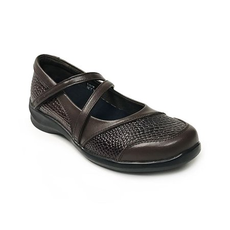 Apex Julia Double Strap E361 Women's Brown Mary - Double Strap Mary Jane