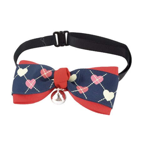 Unique Bargains Heart Pattern Bell Decor Pet Dog Doggy Adjustable Bowtie Collar Red Navy Blue - image 1 of 1